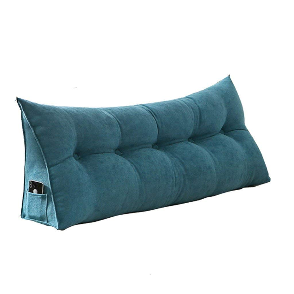Nordic Style Solid Color Korean Velvet Long Cushion, Double Back Sofa Cushion Lumbar Pillow, Soft Bed Pillow Can Be Cleaned (Color : B, Size : 60cm)