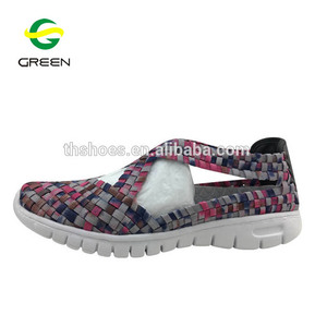 Latest cheap fashion design women flat casual sandals woven elastic shoes