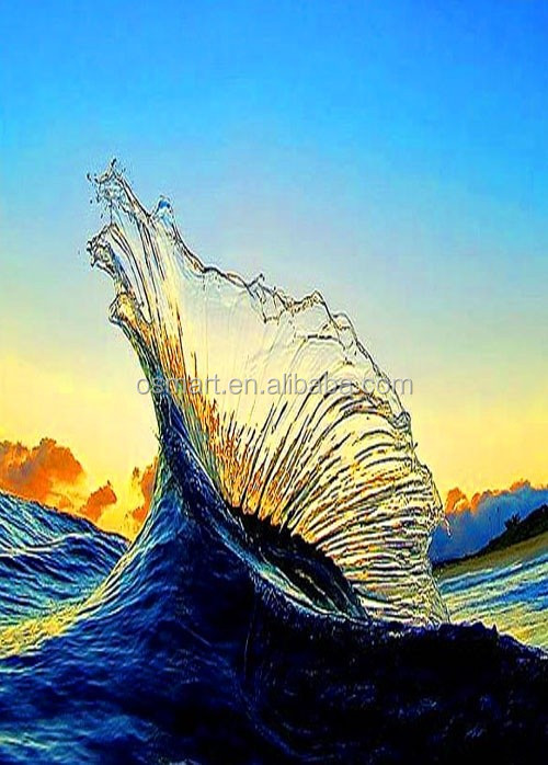 light blue clean transparent the moving water wave sea landscape 100%handmade classic decoration oil painting in canvas