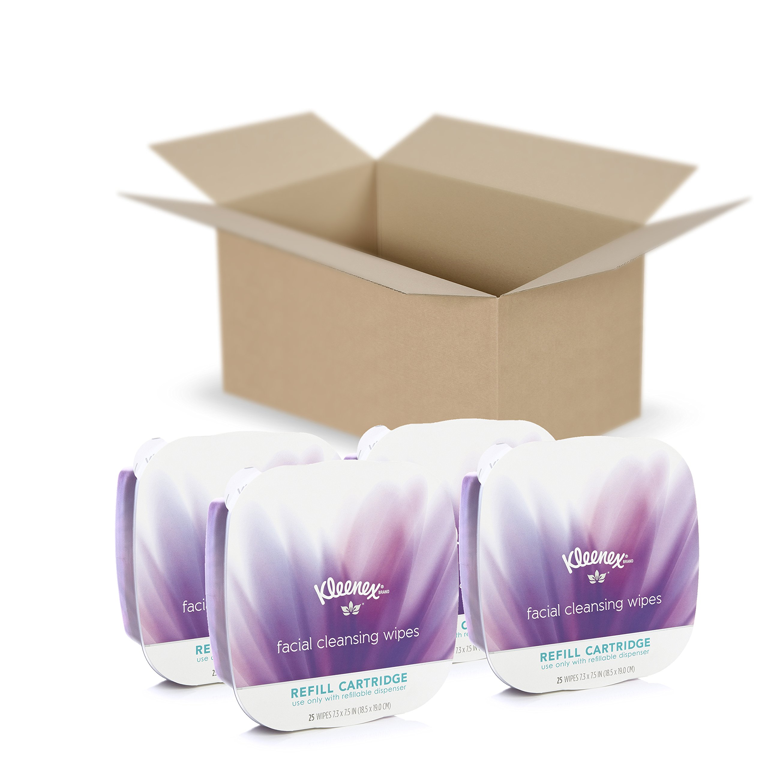 Kleenex Facial Cleansing Wipes Refill Cartridge, 25 Count, Pack of 4