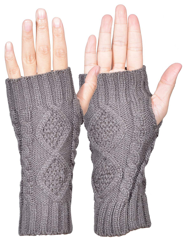 b00a7a3cc8310 Outrip Womens Fingerless Gloves Winter Warm Knit Thumb Hole Mittens Arm  Warmers