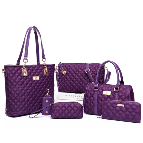 Женский комплект из 6 вещей, нейлоновые сумки через плечо, клетчатая сумка-мессенджер, женская сумка-клатч, 2020(Китай)