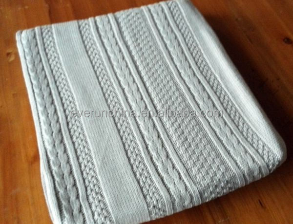 50db67 Cable Knit Throw Blanket Cotton With Rib Edge