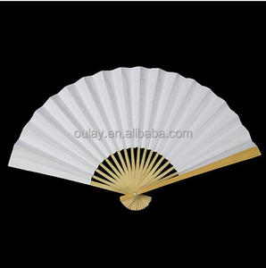Wholesale custom personal bamboo paper folding hand fan for gift