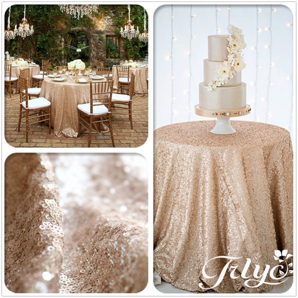 """TRLYC New listing !!! Champagne Round Sparkly Sequin Tablecloth 72"""" - 196'' Round for Wedding/Dessert Table (72)"""