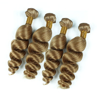 Fashionable!!! New coming No Smell Soft Touch Blonde 27# color Loose Wave Virgin Human Hair Extension