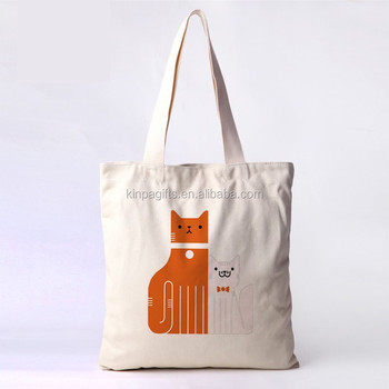 ca9d5e6949f9 Wholesale standard size cotton canvas cat design tote shopping bag cute  tote bag for school girl