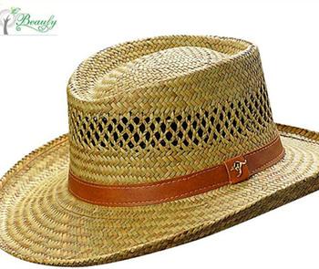 China wholesale mens rush straw cowboy casual wide brim hollow gambler hat 642d95ebeab
