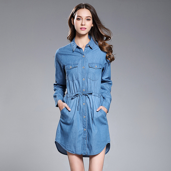 c30de28a Spring female long sleeve jeans shirt for women denim blouse and simple  ladies shirt dresses