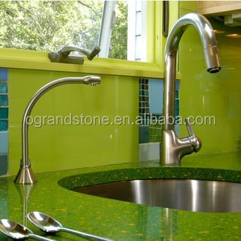 Green Artificial Light Green Quartz Quartz Stone Slabs Kitchen