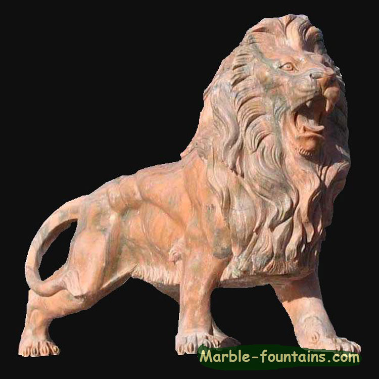 outdoor custom size standing marble lion statuary