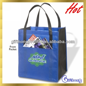b219efb9f3 Custom logo printing non-woven tote bags with front pocket and black handles