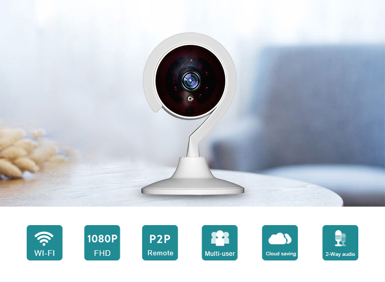 Remotely control two way audio smart wifi ip camera for home