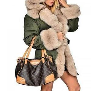 Fashionable High-end Italy Style Rex Rabbit Fur Lining Coats Fox Fur Collar Jacket Winter Women Real Fur Parka