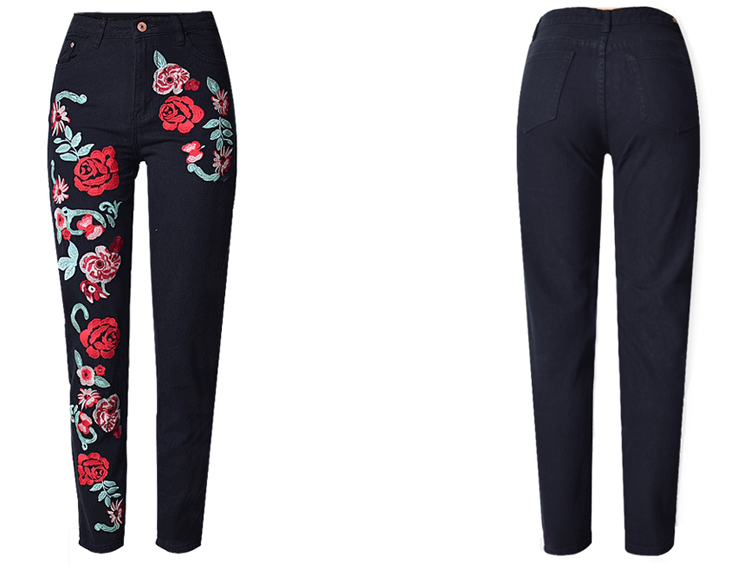 Wholesale New Fashion Embroidered stretch jeans for women