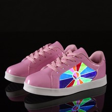 LED Screen printing shoes for women led light Waterproof Breathable running Shoes adult led shoes