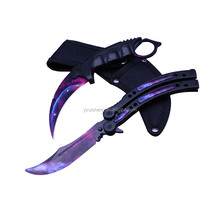 Best selling Camping Hunting Luminous Karambit knife with rope cutter