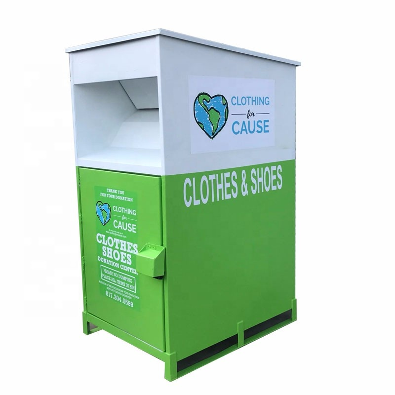 new design big clothes waste recycling bin in bulk clothes drop box clothes recycle bins