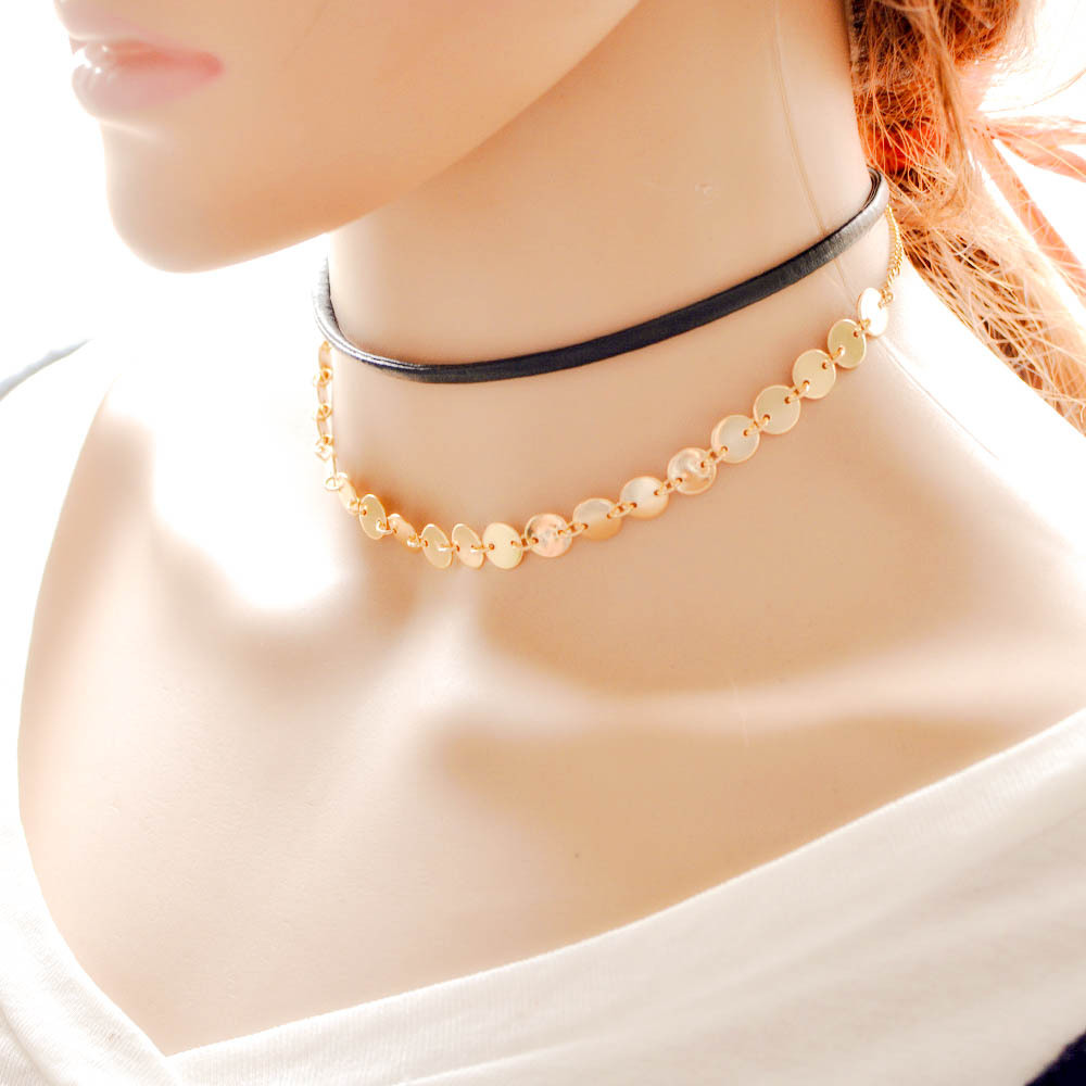 Cheap Wholesale Layers Black Leather Wrap Choker Necklaces Gold Disc Collar Necklaces For Women