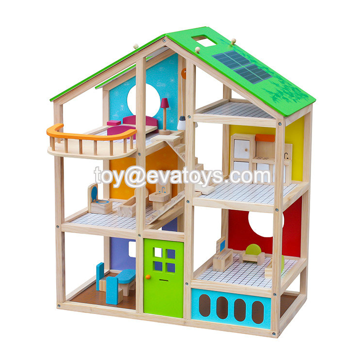 In stock kids wooden doll house for wholesale W06A281