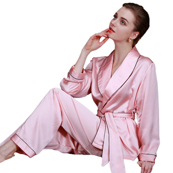 3b03faa5b2 2018 hot women satin pants kimono 2 piece set Pajamas luxury bathrobe  sleepwear