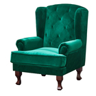 Antique design accent luxury french vintage leather hotel high back living room velvet fabric upholstery wood recliner armchair