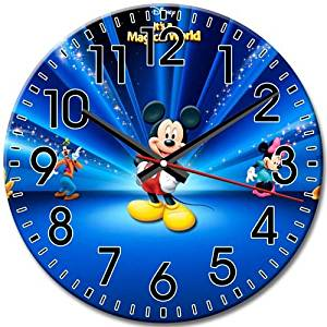 Disney Epic Mickey Round Wall Clock Fantastic Whisper Quiet Arabic Numbers Frameless Quiet 10 Inch / 25 cm Diameter