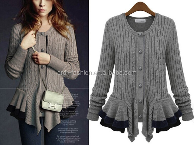 ladies womens fashion ruffle cable knit button down cardigan sweater