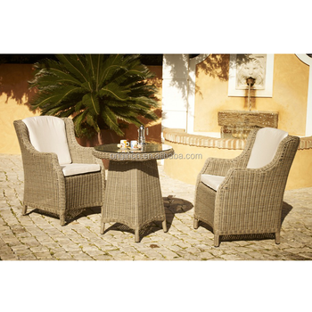 Poly Rattan Woven Country Style Garden Bar Furniture Wicker Outdoor High Back Chairs And Round Fancy