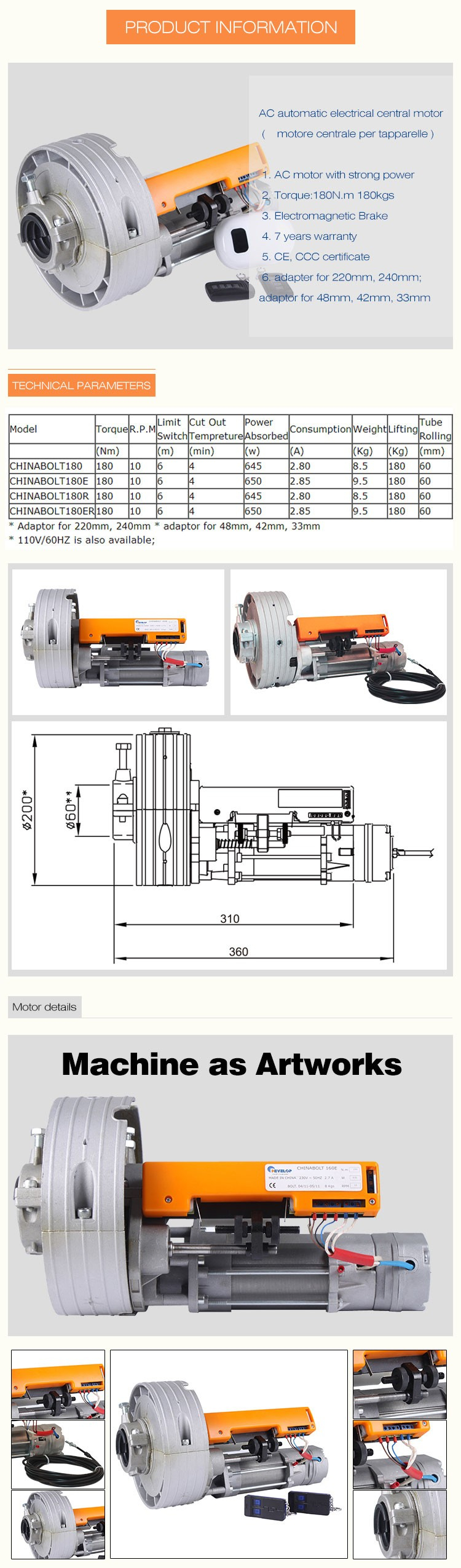 Ac 220v 50hz 370w 600kg Remote Control Automatic Electric Rolling Shutter Motor Door