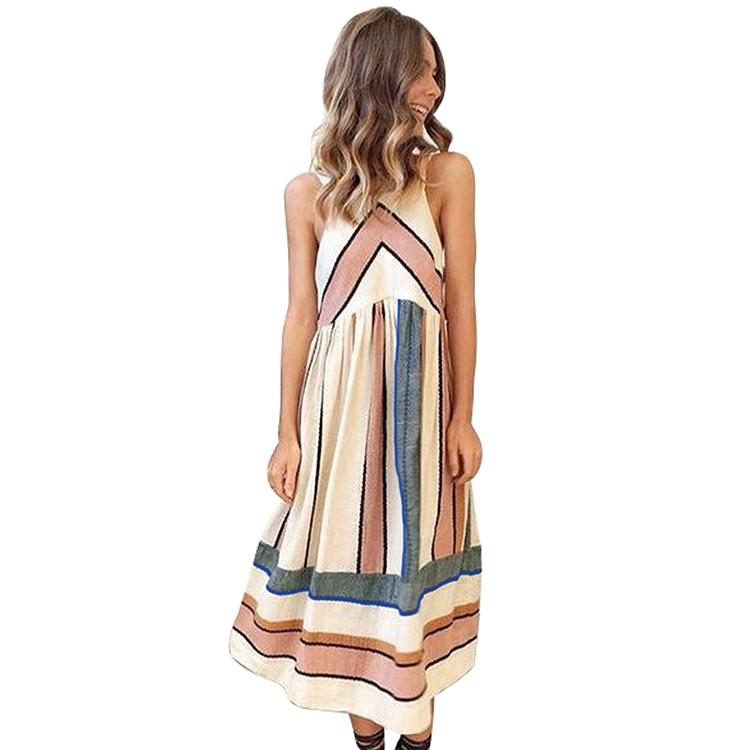 001ee4c458ca Vintage Lady Casual Summer Party Beach Fashion Midi Dress Chic Bohemian  Vestito Delle Donne Della Boemia