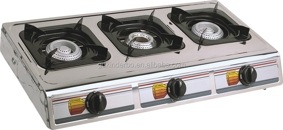 Stainless stell panel JK-403A 3 big burner gas stove