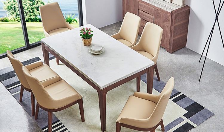 Modern Round Granite Marble Dining Table And Chairs Set