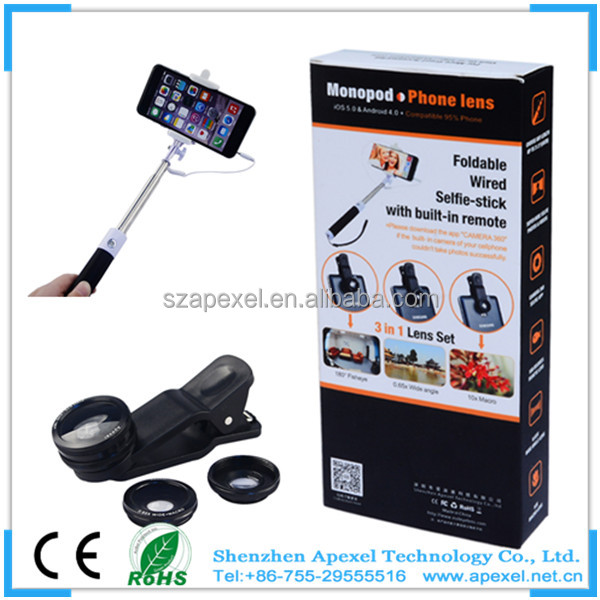 wholesale mini travel set sefie stick with mobile camera fish/macro/wide angle lens for gift