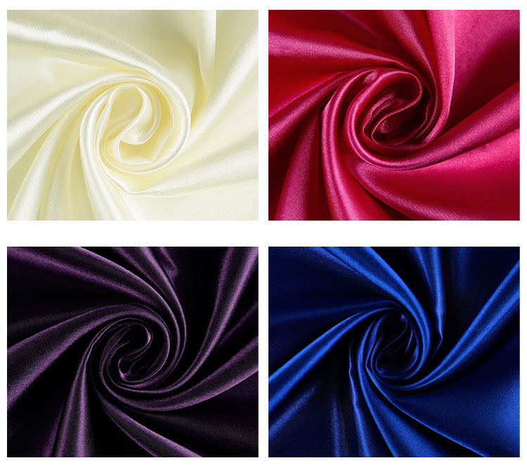 Factory custom high quality 100% polyester satin dyed fabric stocklot for clothing