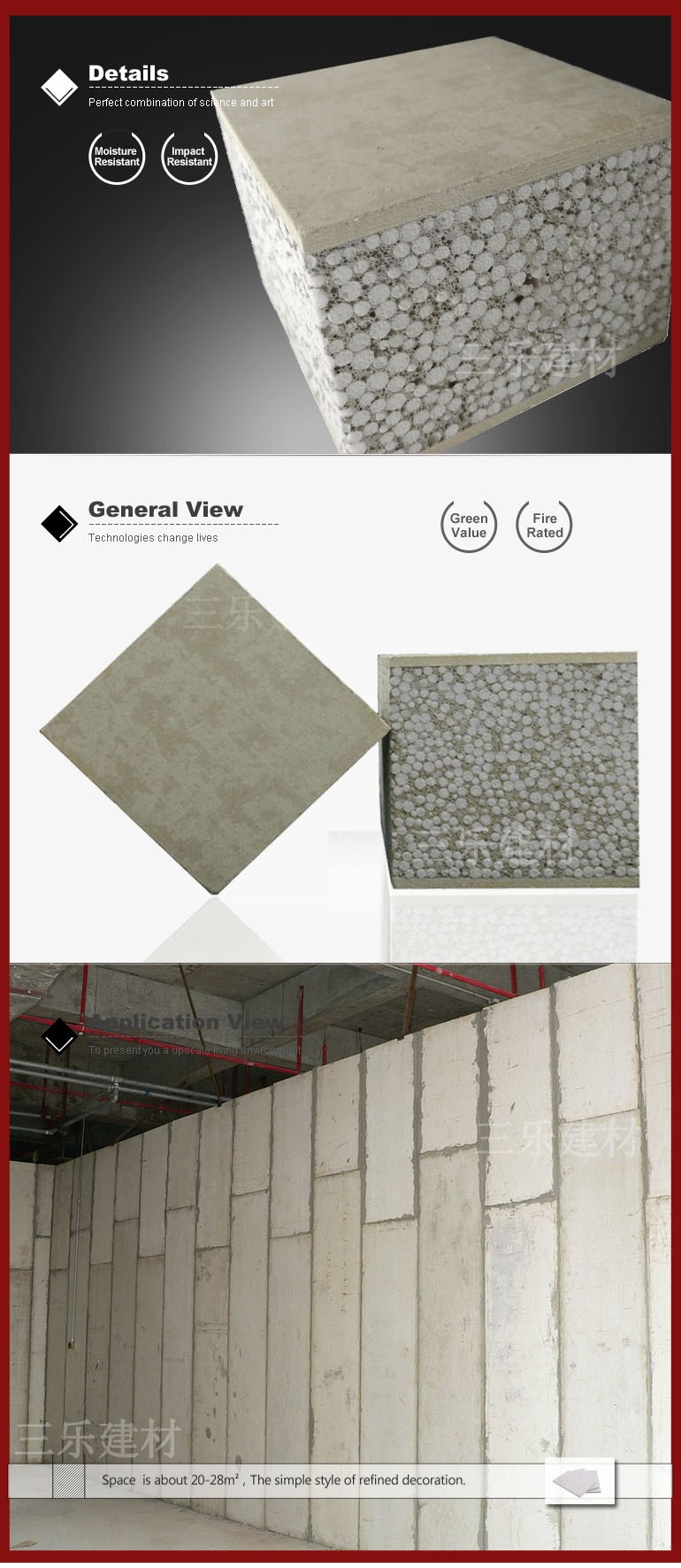 Ready Made Walls : Eps concrete prefabricated sandwich panel ready made