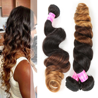 Good feedbacks 100% natural hair three tone 10A ombre hair extensions