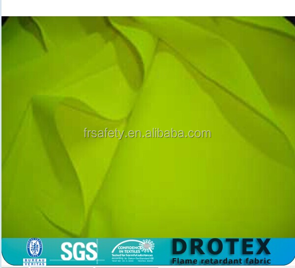 100 percent cotton fabric NFPA 2112 Hi vis Yellow permenent flame resistant FR AS Modacrylic cotton fabric