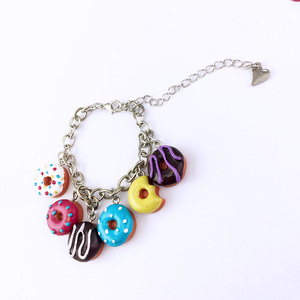Cheap Promotional Custom Chain Bracelet With resin dounts Charm For Children
