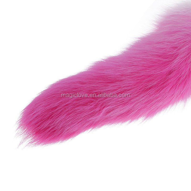 New Adult Gradient Color Artificial Tail Butt Plug Metal Anal Sex Toys Fox Tail Sex Toys for Woman