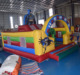 superhero theme inflatable kids fun play center / inflatable fun city with slide for kids