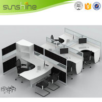 China High Tech Transparent Office Furniture Supplier Modern Glass Divider Wall Partition With Side Table