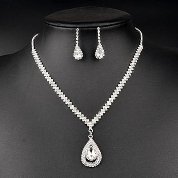 8f8726b94 Korean Styles Lover Women Bridal Wedding Accessories Full Zirconia Necklace Earrings  Jewelry Set