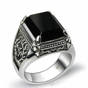 Black obsidian ring vintage 925 sterling silver for mens with natural stone fine jewelry royal de plata