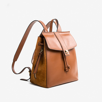 KD0114 2019 New Design Drawstring Backpack Genuine Leather Back Pack for Women