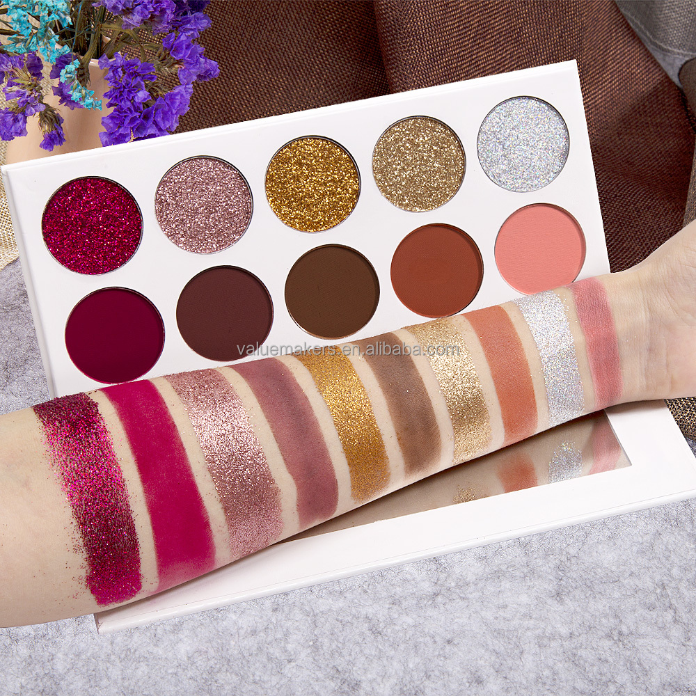 2017 newest makeup 10 colors cosmetic glitter eyeshadow palette