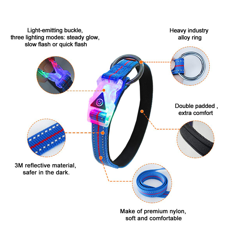 Free Sample Customized Eco Friendly Reflective Led Dog Collar At night