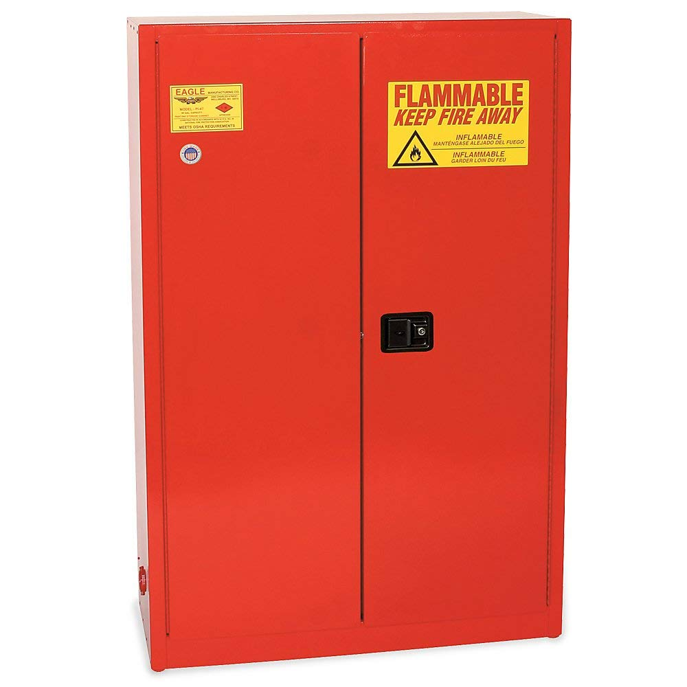 "Eagle Paints, Inks, And Class Iii Combustibles Safety Cabinet - 43X18x65"" - 60-Gallon Capacity - Self-Closing Sliding Door - Yellow - Yellow"