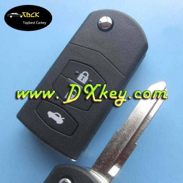 Fake car key for Mazda M2 3 button car remote key 433mhz remote control with 4D63 chip 80bit Maz24R blade