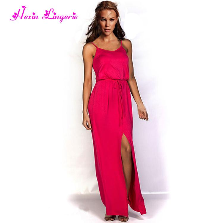 Robe rose longue moulante